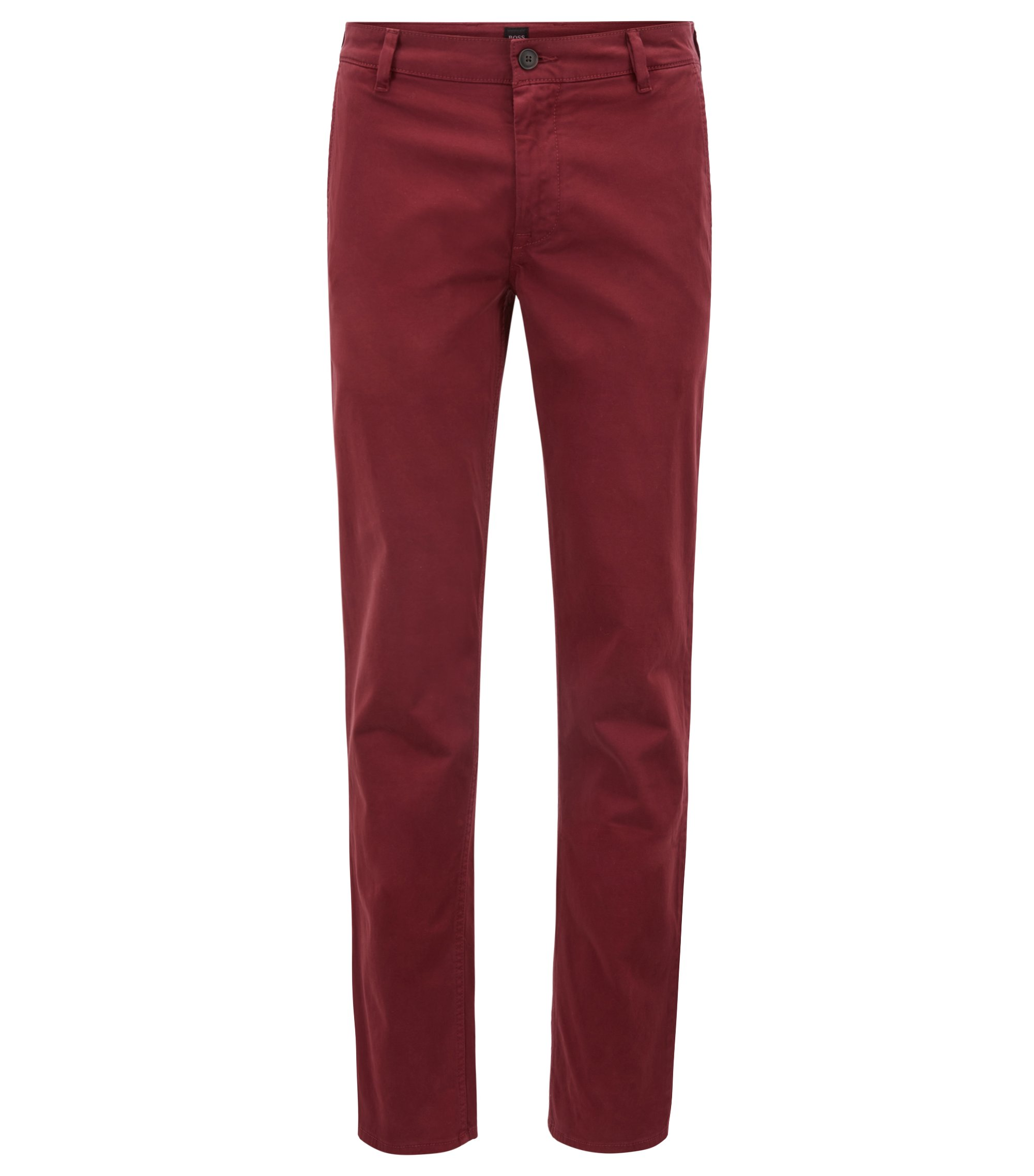 Regular-Fit Casual-Chino aus angerauter Stretch-Baumwolle, Dunkelrot