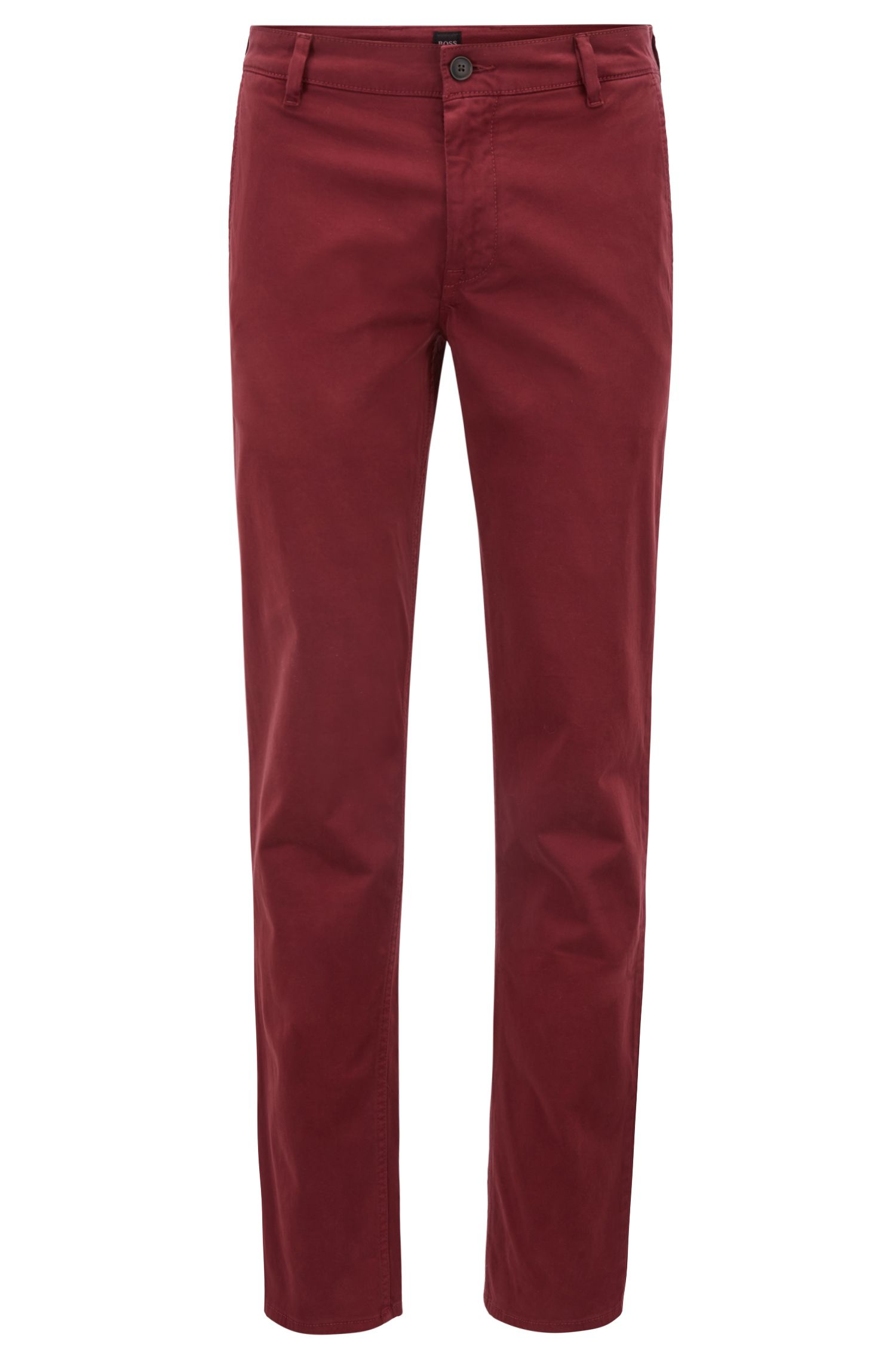 Regular-fit casual chino van geborstelde stretchkatoen, Donkerrood