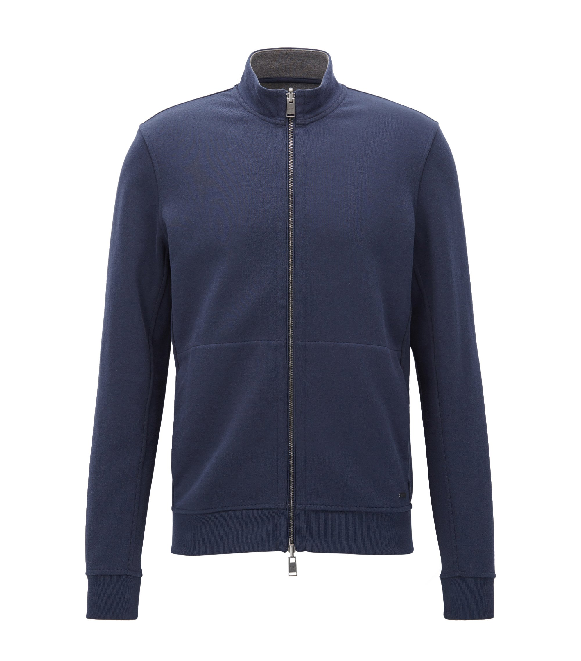 Reversible regular-fit jacket in a cotton blend, Dark Blue