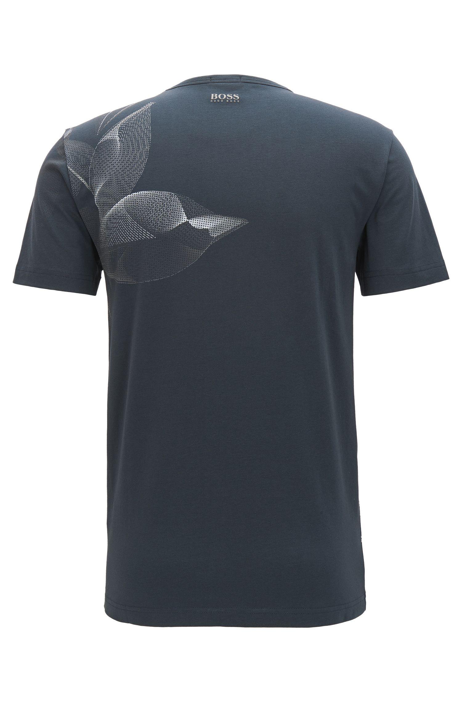 Camiseta estampada regular fit en algodón elástico