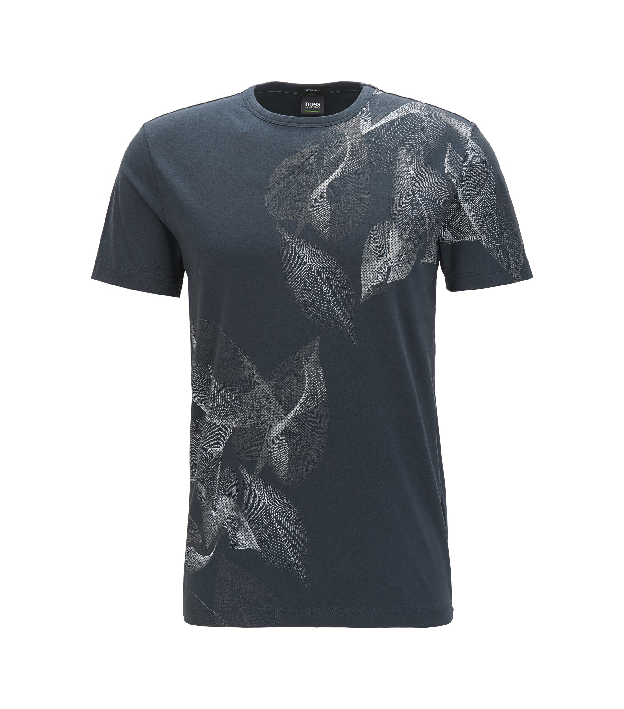 T-shirt con stampa regular fit in cotone elasticizzato, Blu scuro