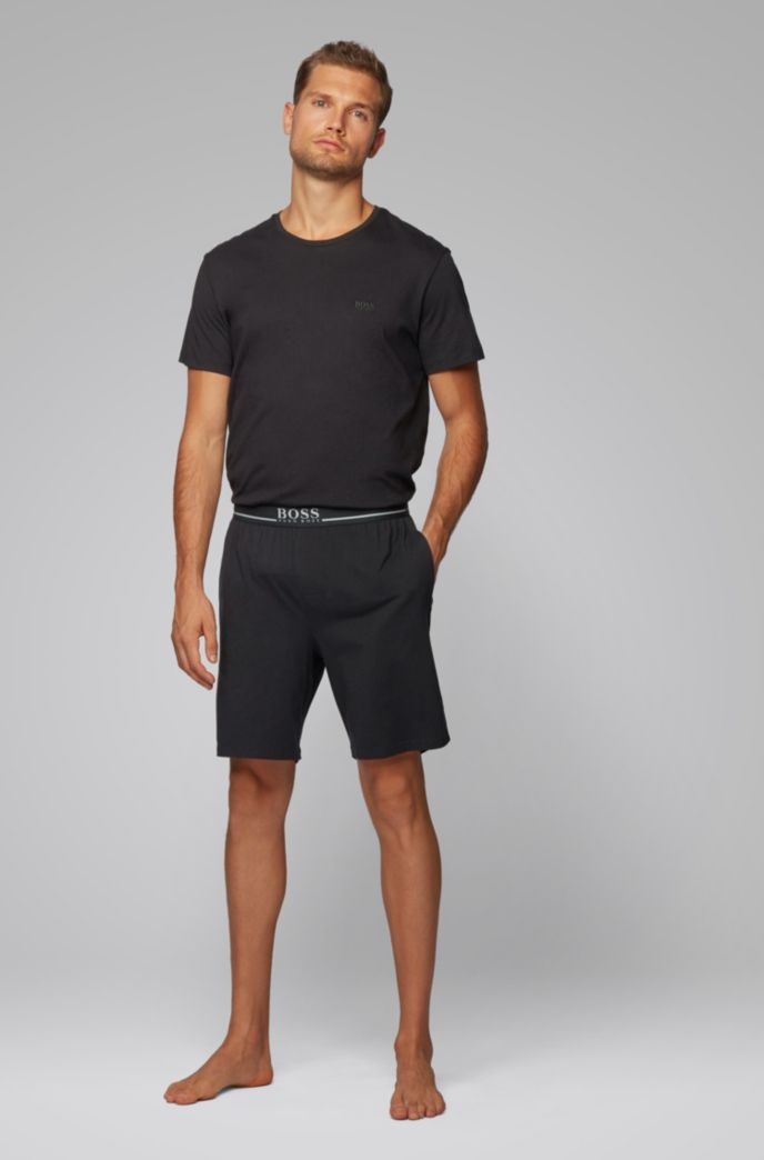 Loungewear shorts in stretch cotton with side pockets