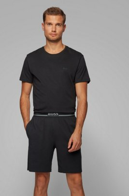 Loungewear shorts in stretch cotton with side pockets, Black