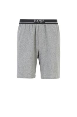 Loungewear shorts in stretch cotton with side pockets, Grey
