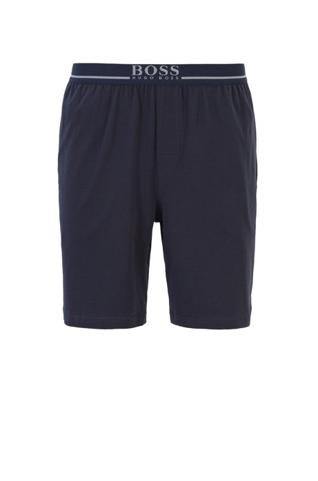 Loungewear shorts in stretch cotton with side pockets, Dark Blue