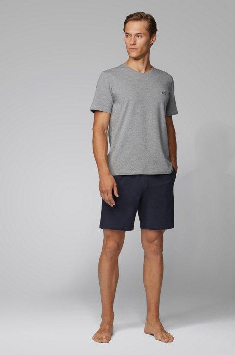 Loungewear-Shorts aus Stretch-Baumwolle mit Seitentaschen, Dunkelblau