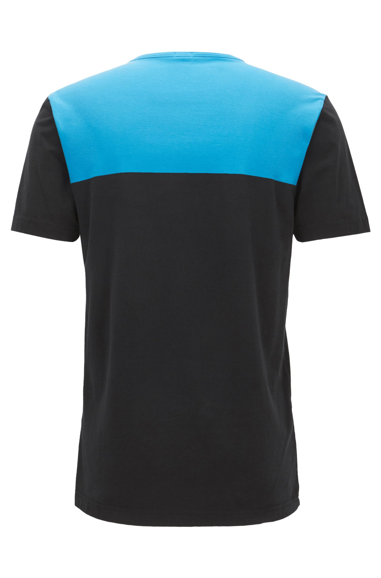 Regular-Fit T-Shirt aus Stretch-Baumwolle im Colour Block Design