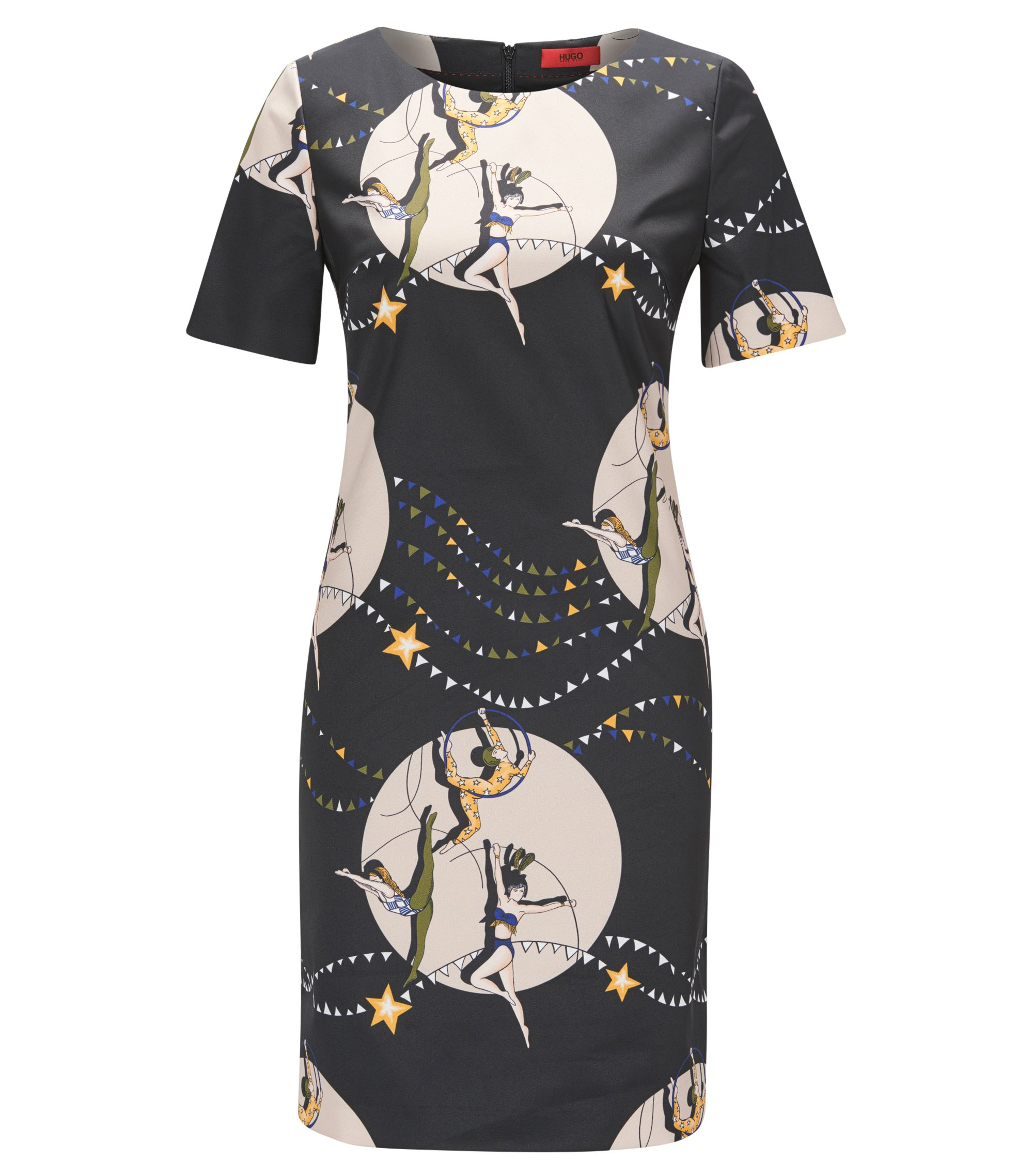 Short-sleeved printed shift dress in stretch fabric, Patterned