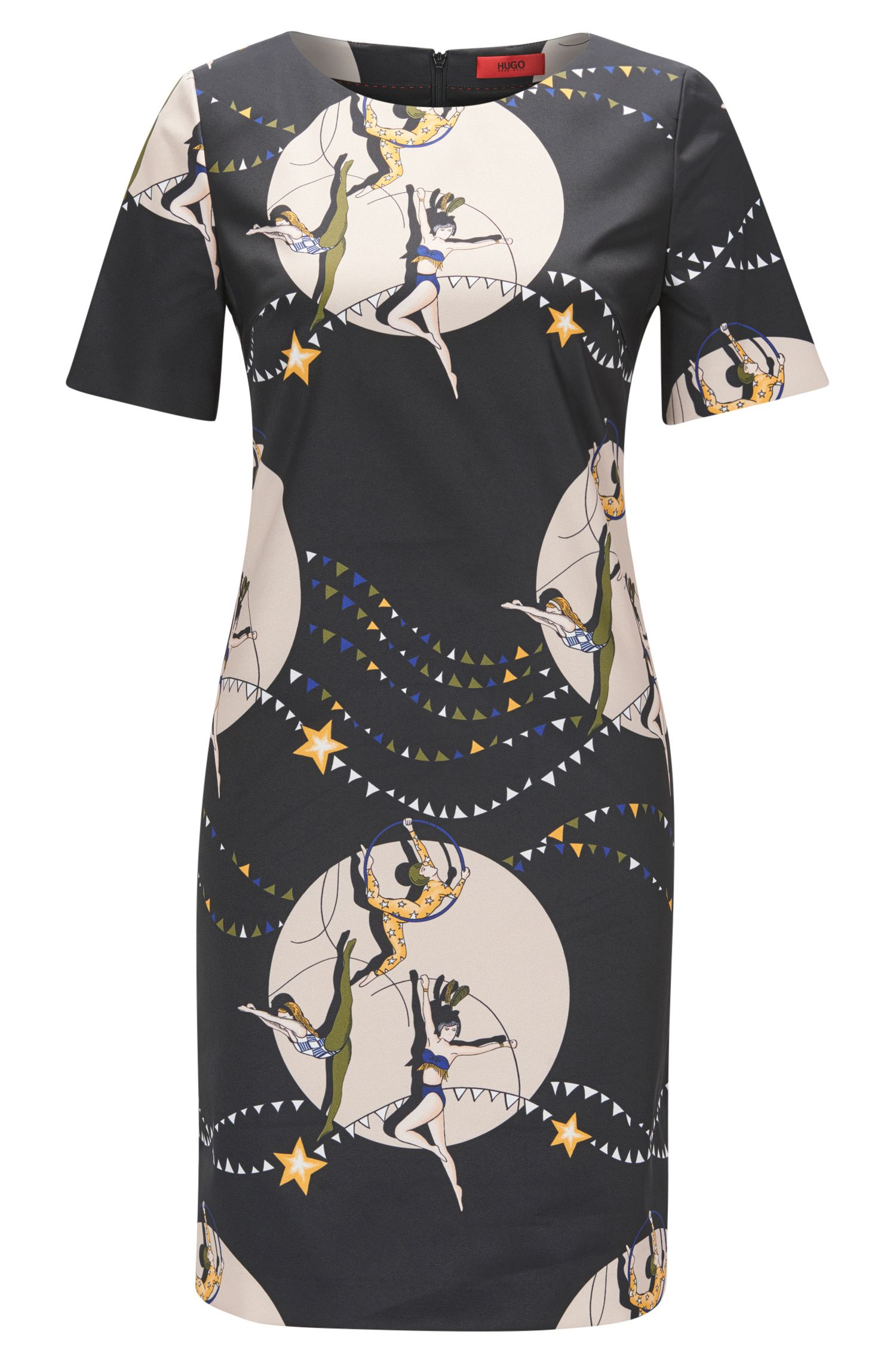 Short-sleeved printed shift dress in stretch fabric