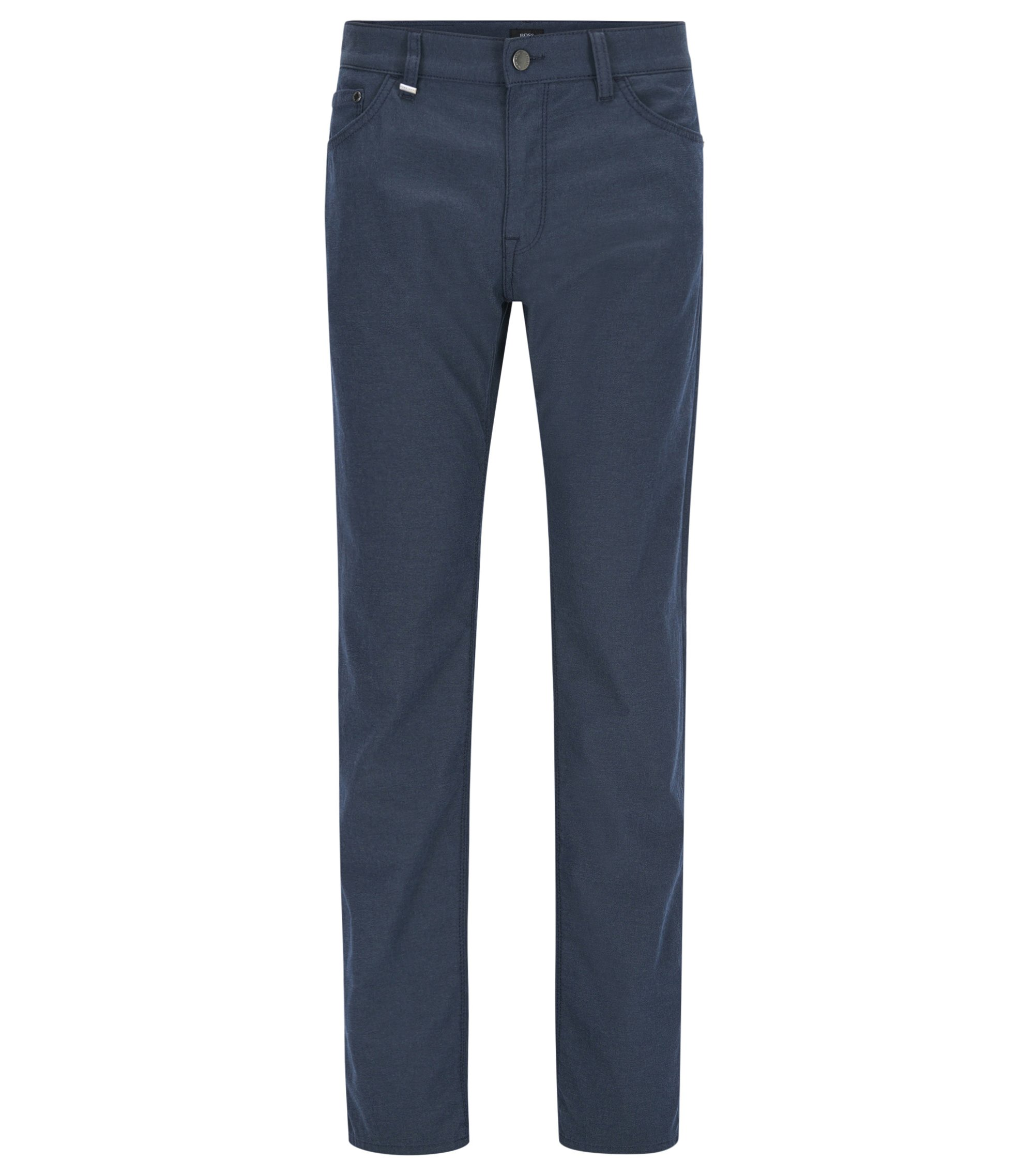 Regular-fit jeans in mélange Italian denim, Dark Blue