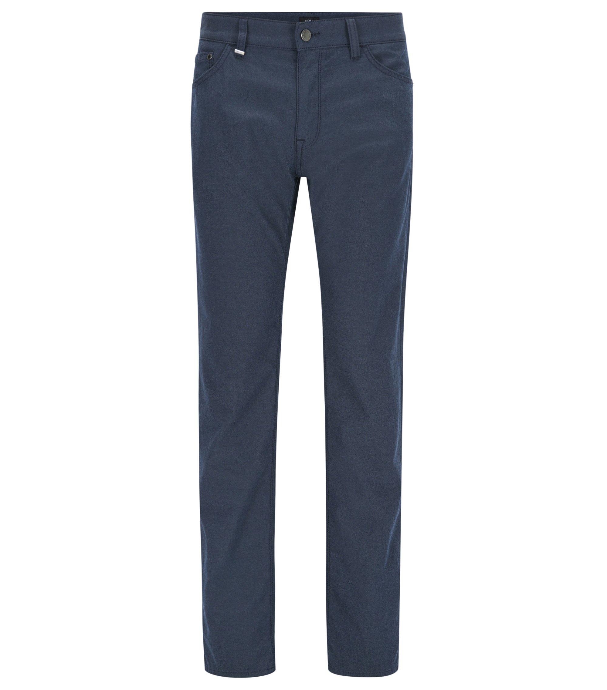 Regular-fit jeans van gemêleerd Italiaans stretchdenim, Donkerblauw