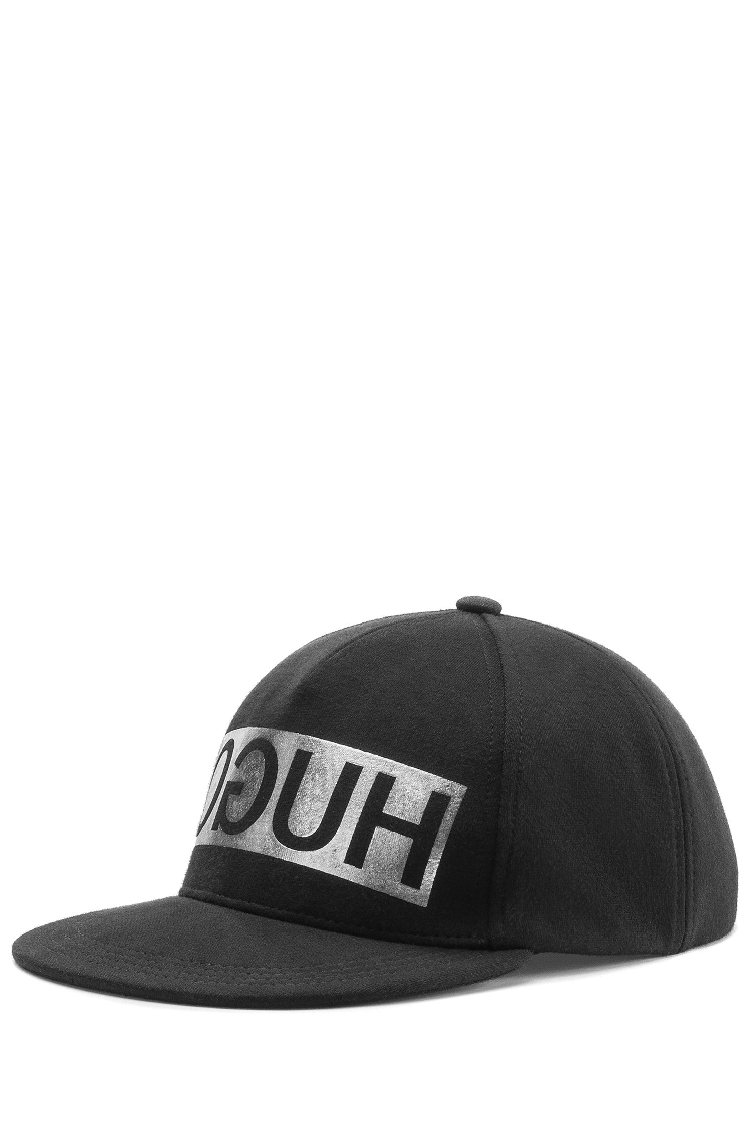 Reverse-logo baseball cap in French terry