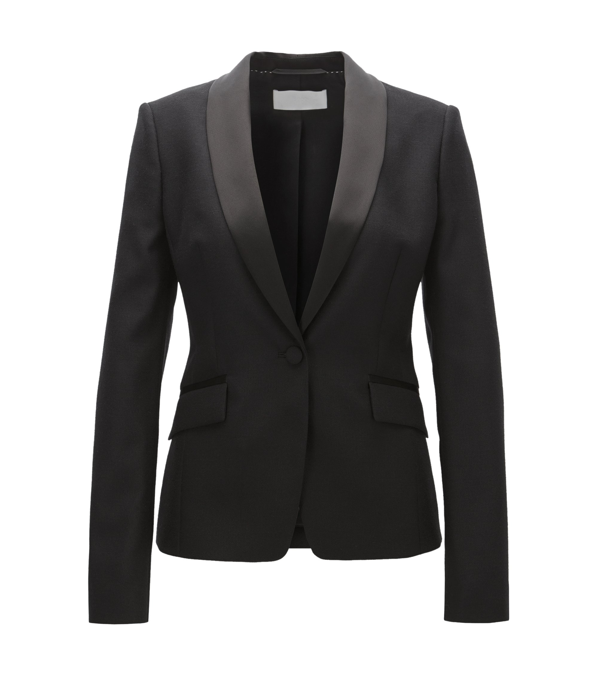 Regular-Fit Smoking-Blazer aus Schurwolle, Schwarz