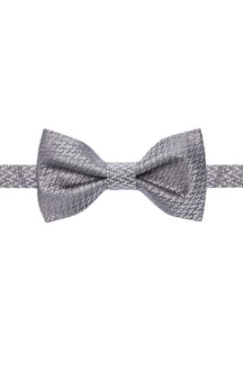 Structured bow tie in pure silk, Grey