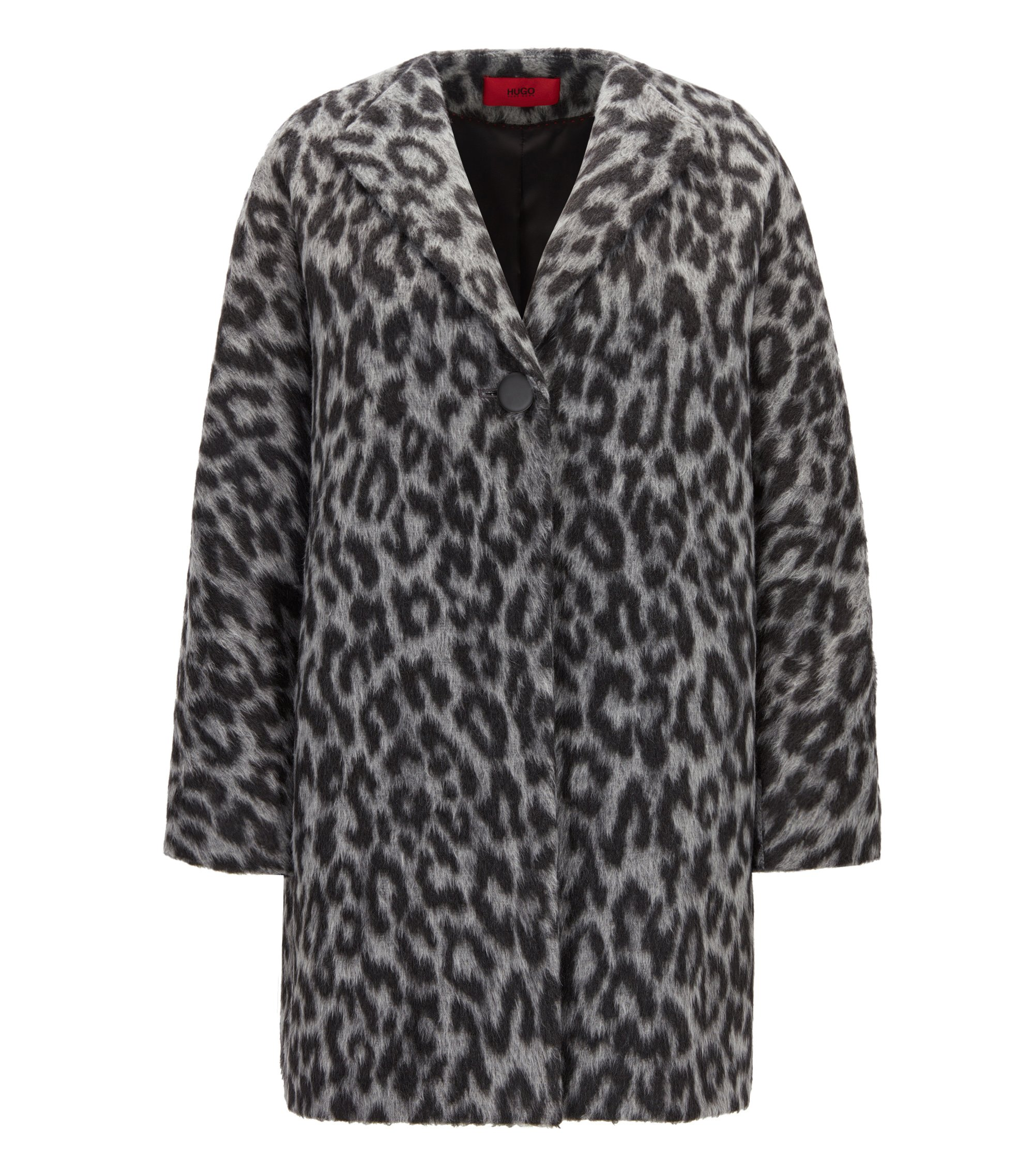 Oversize-fit coat in two-tone cheetah print, Patterned