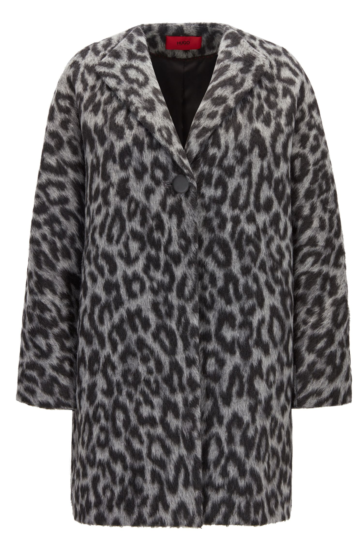 Oversize-fit coat in two-tone cheetah print