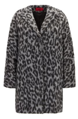 Oversize-fit coat in two-tone cheetah print, Fantaisie