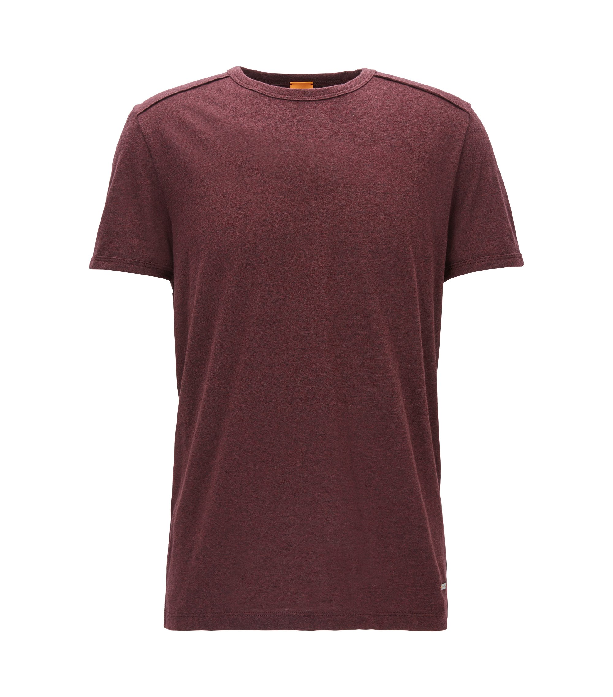 Relaxed-fit T-shirt van moulinéjersey, Donkerrood