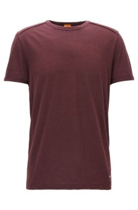T-shirt relaxed fit in jersey mouliné, Rosso scuro