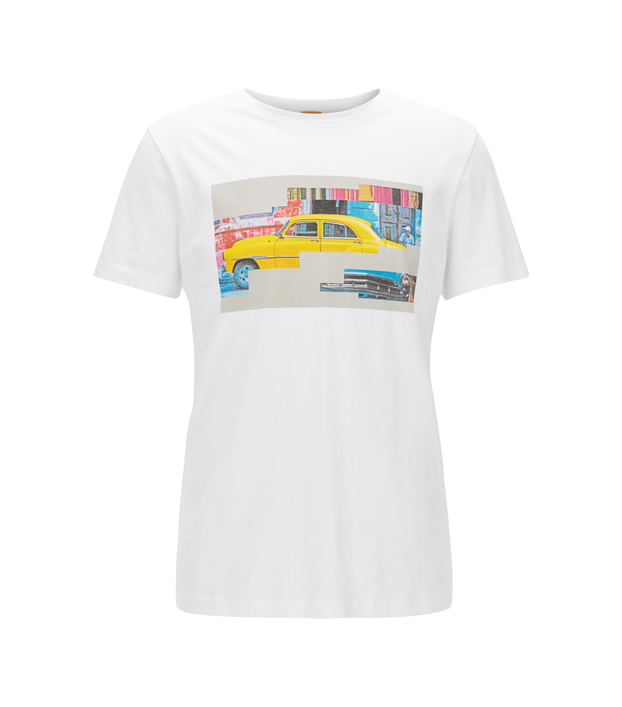 T-shirt regular fit in cotone con motivo cubano, Bianco