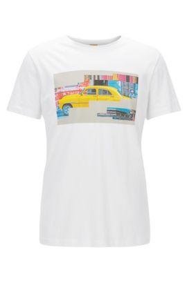 Camiseta de algodón regular fit con motivo de Cuba, Blanco
