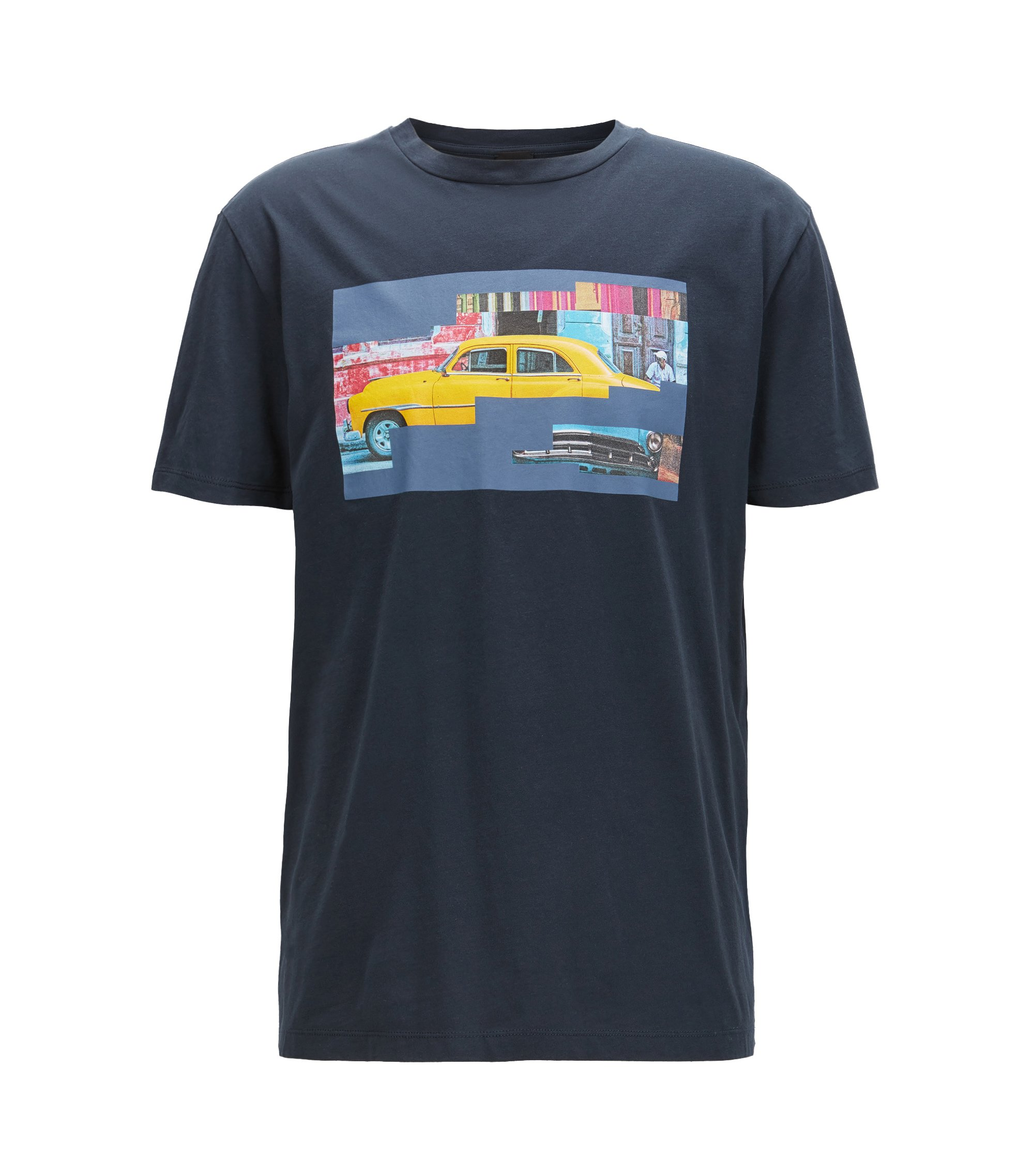 Camiseta de algodón regular fit con motivo de Cuba, Azul oscuro