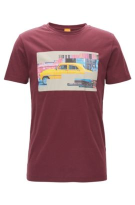 T-shirt Regular Fit en coton motif Cuba, Rouge sombre