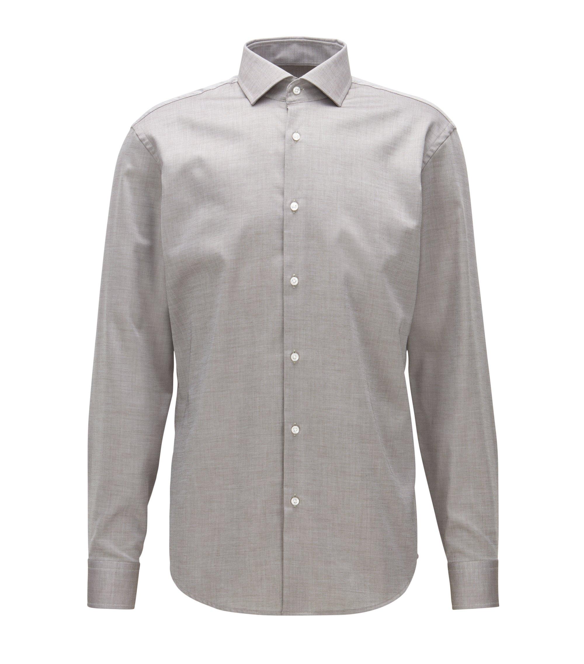 Chemise Regular Fit facile à repasser, en coton à micro-motif, Gris chiné