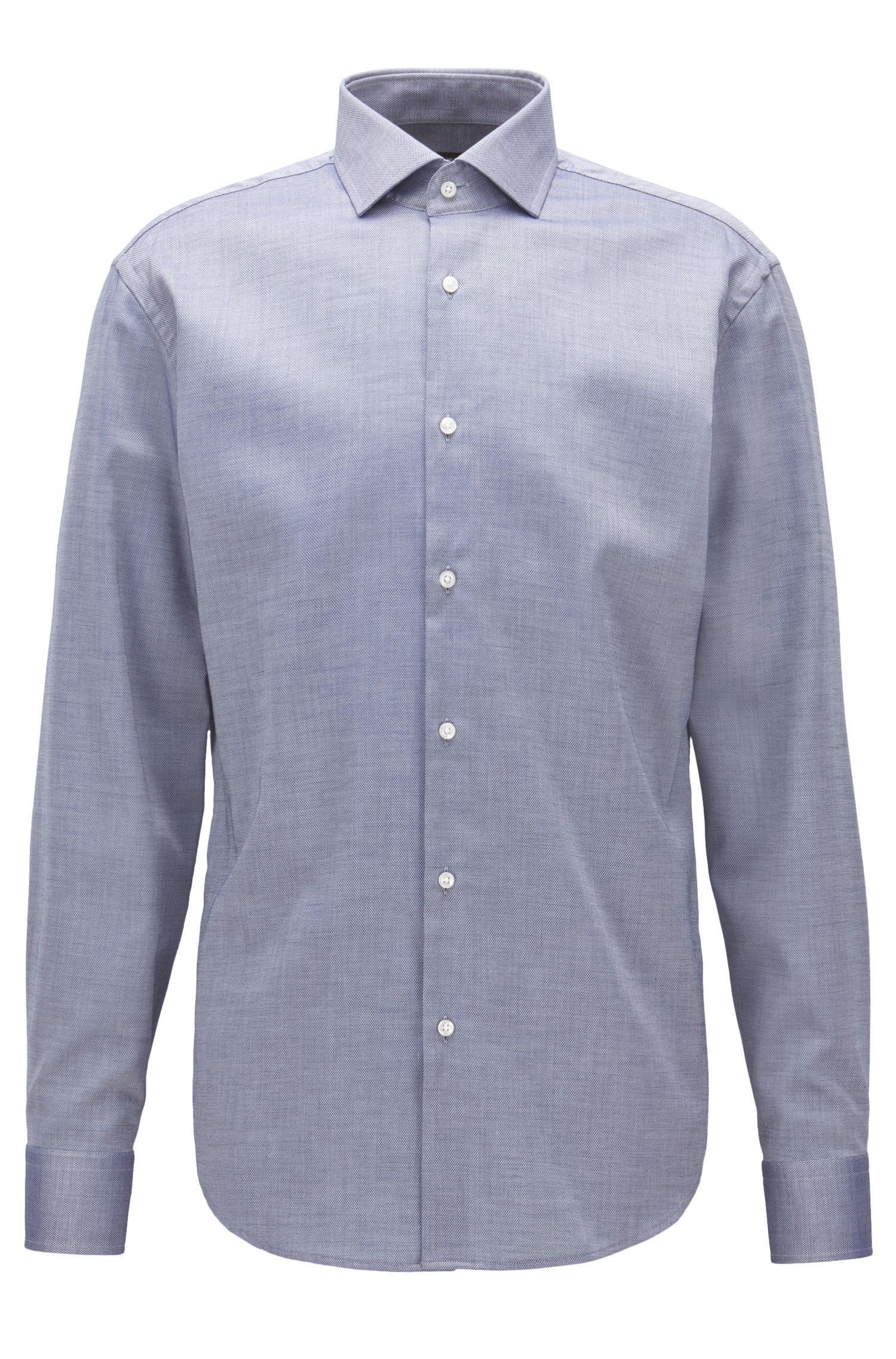 Regular-fit easy-iron shirt in micro-pattern cotton