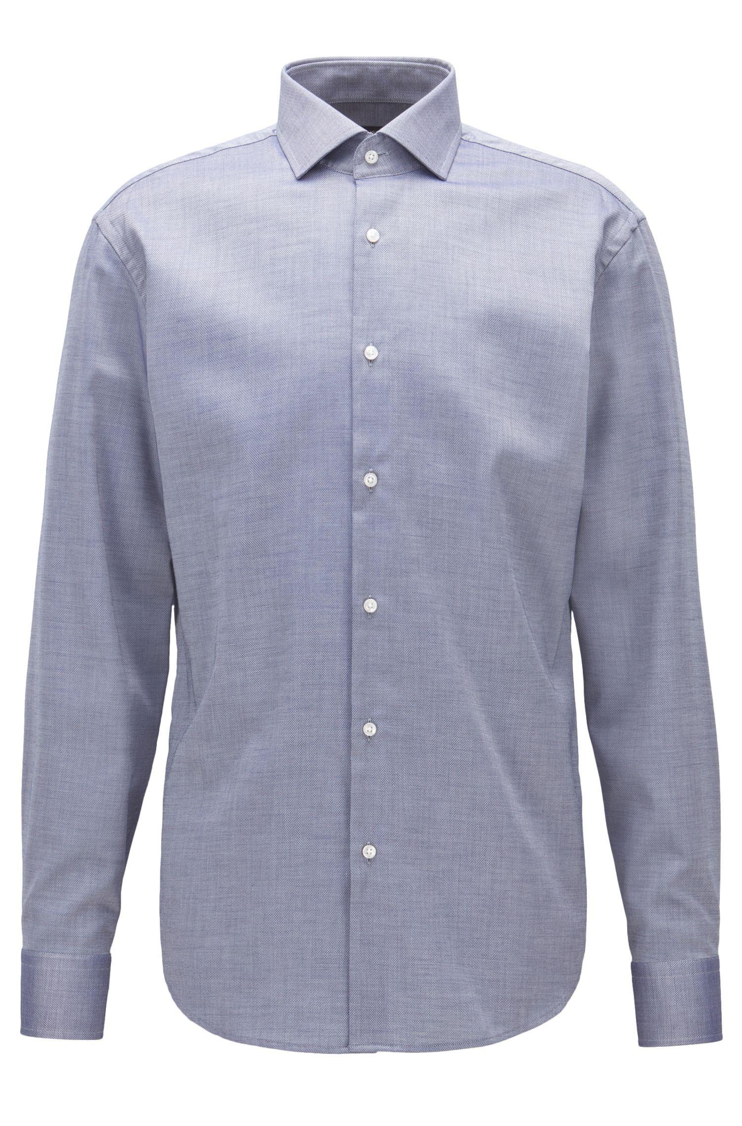 Gemakkelijk te strijken, regular-fit overhemd van katoen met microdessin