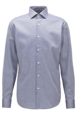 Camicia regular fit facile da stirare in cotone con micro-motivo, Blu scuro
