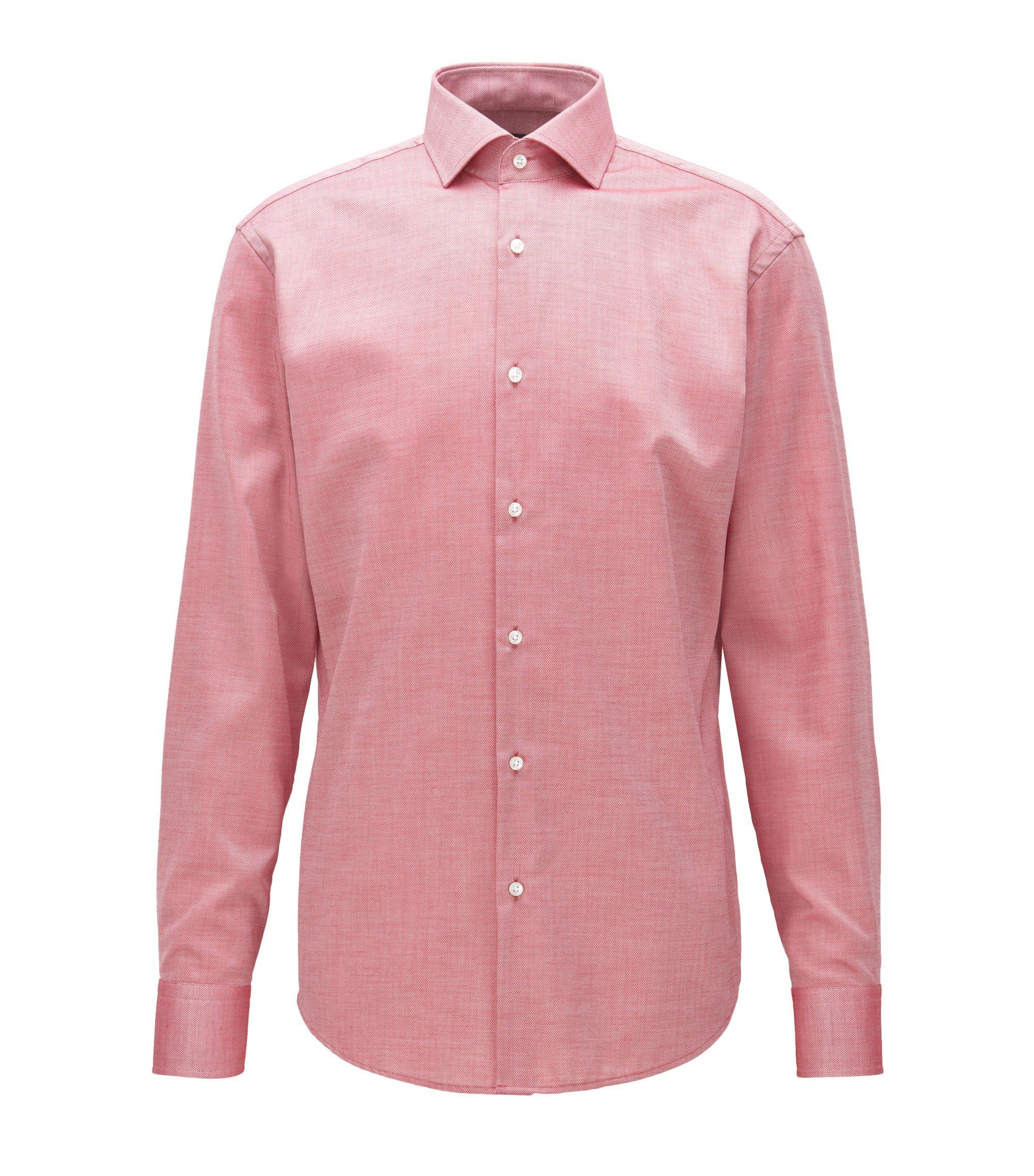 Gemakkelijk te strijken, regular-fit overhemd van katoen met microdessin, Rood