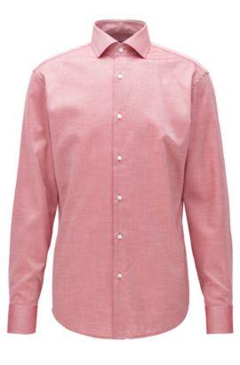 Chemise Regular Fit facile à repasser, en coton à micro-motif, Rouge
