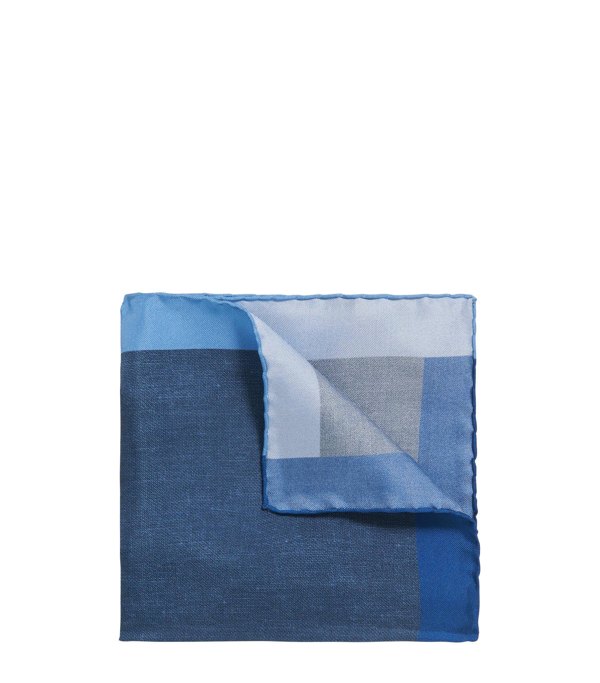 Pochette carrée imprimée en soie, Bleu foncé