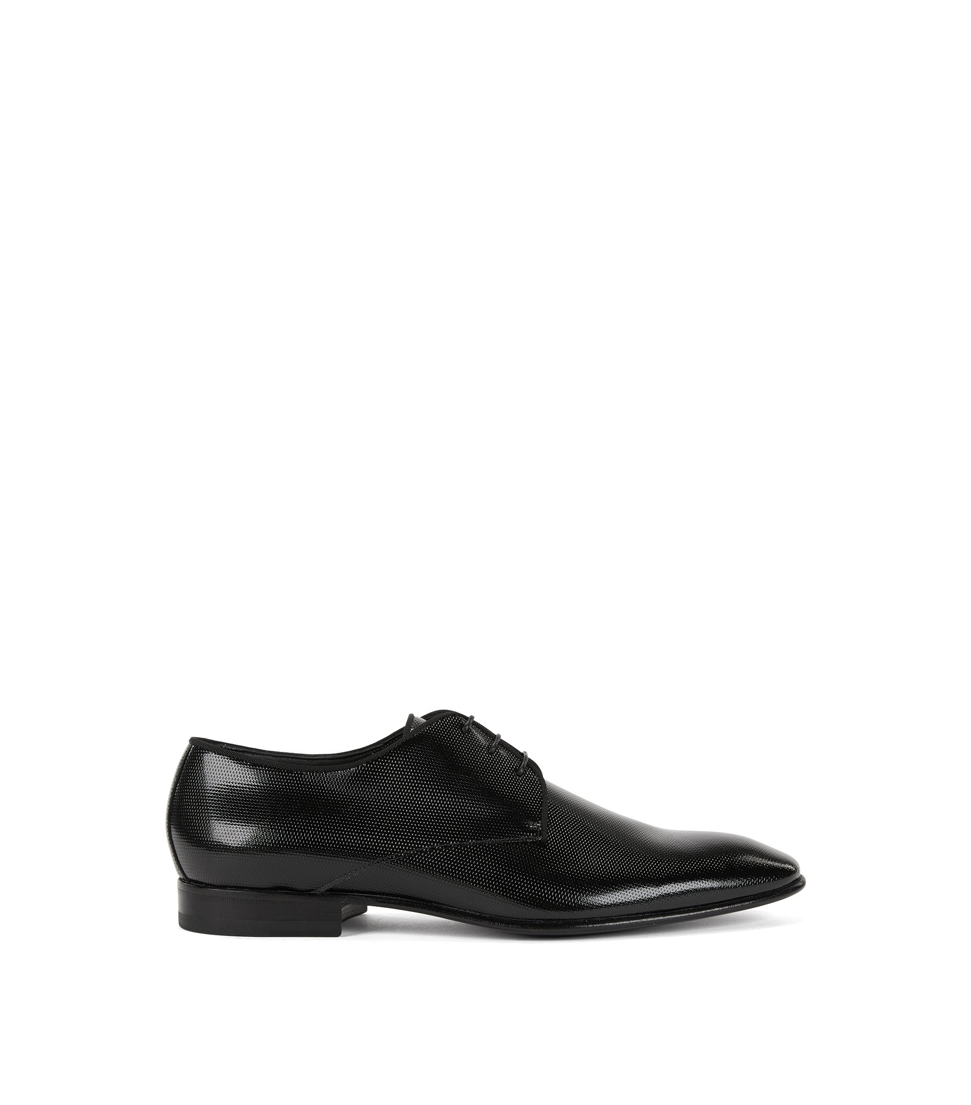 Derby shoes in printed patent leather, Black