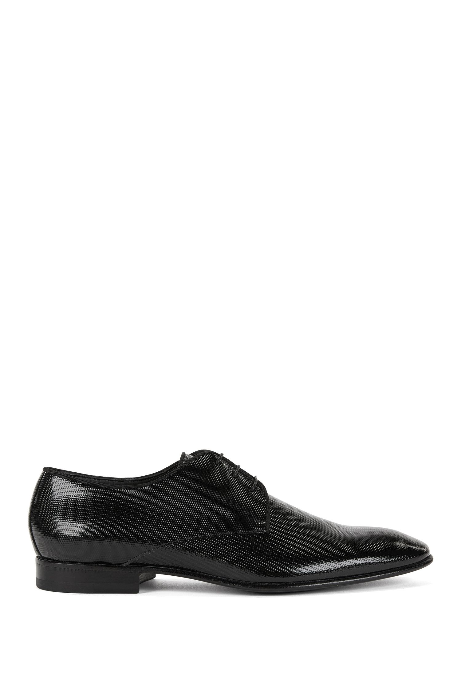 Derby shoes in printed patent leather