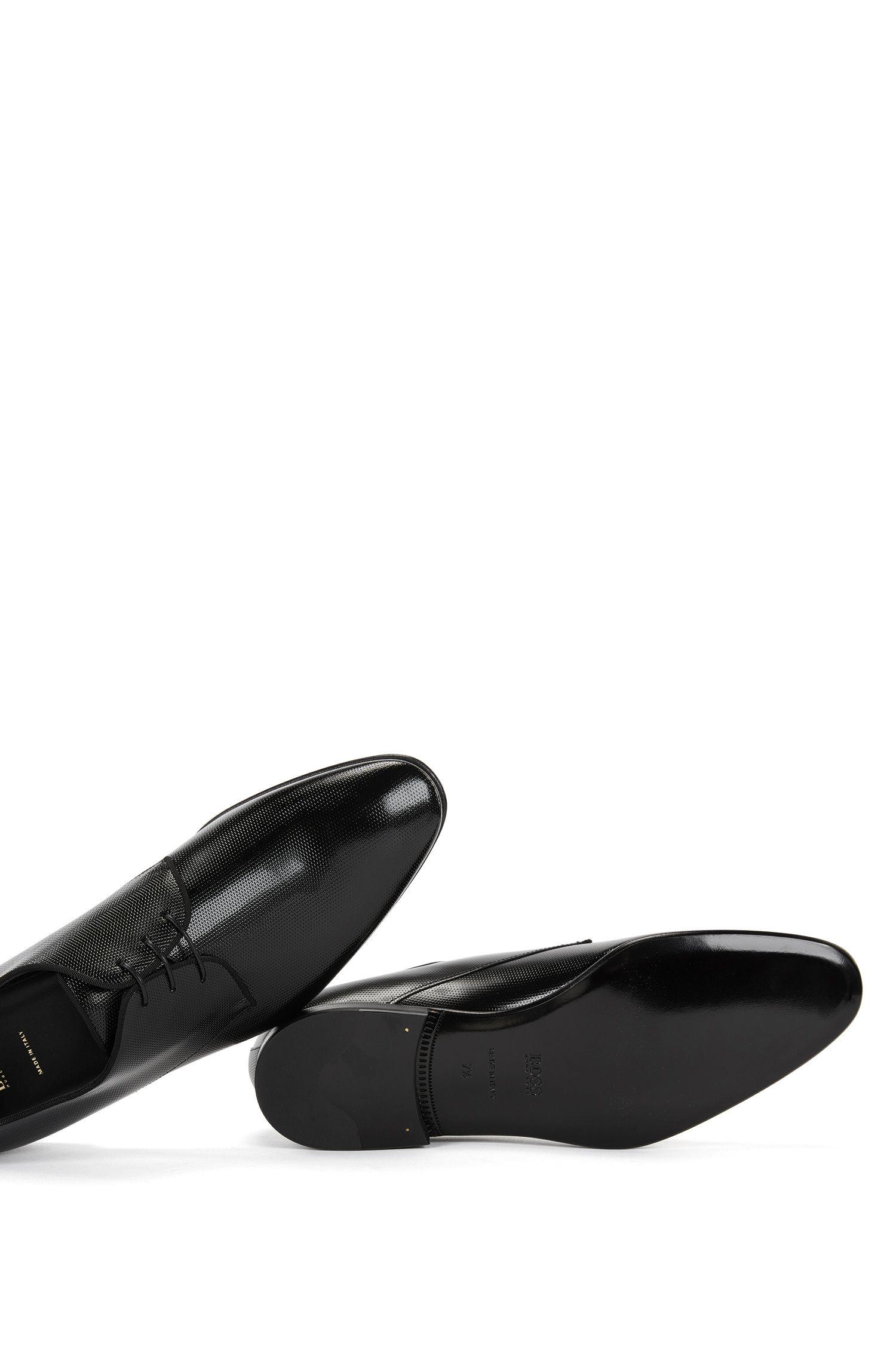 Chaussures derby en cuir verni imprimé
