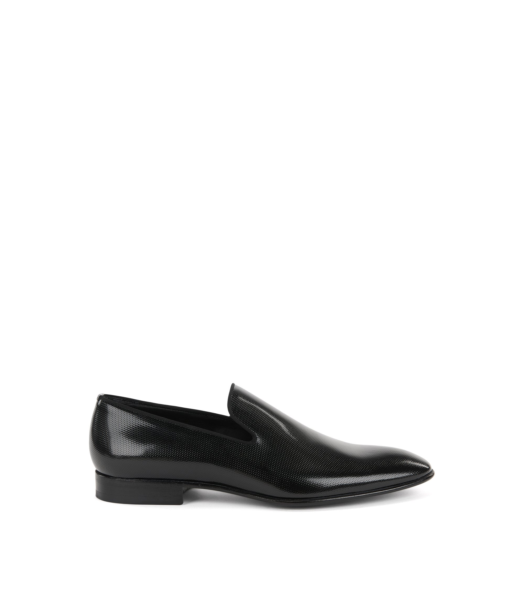 Slip-on loafers in printed patent leather, Black