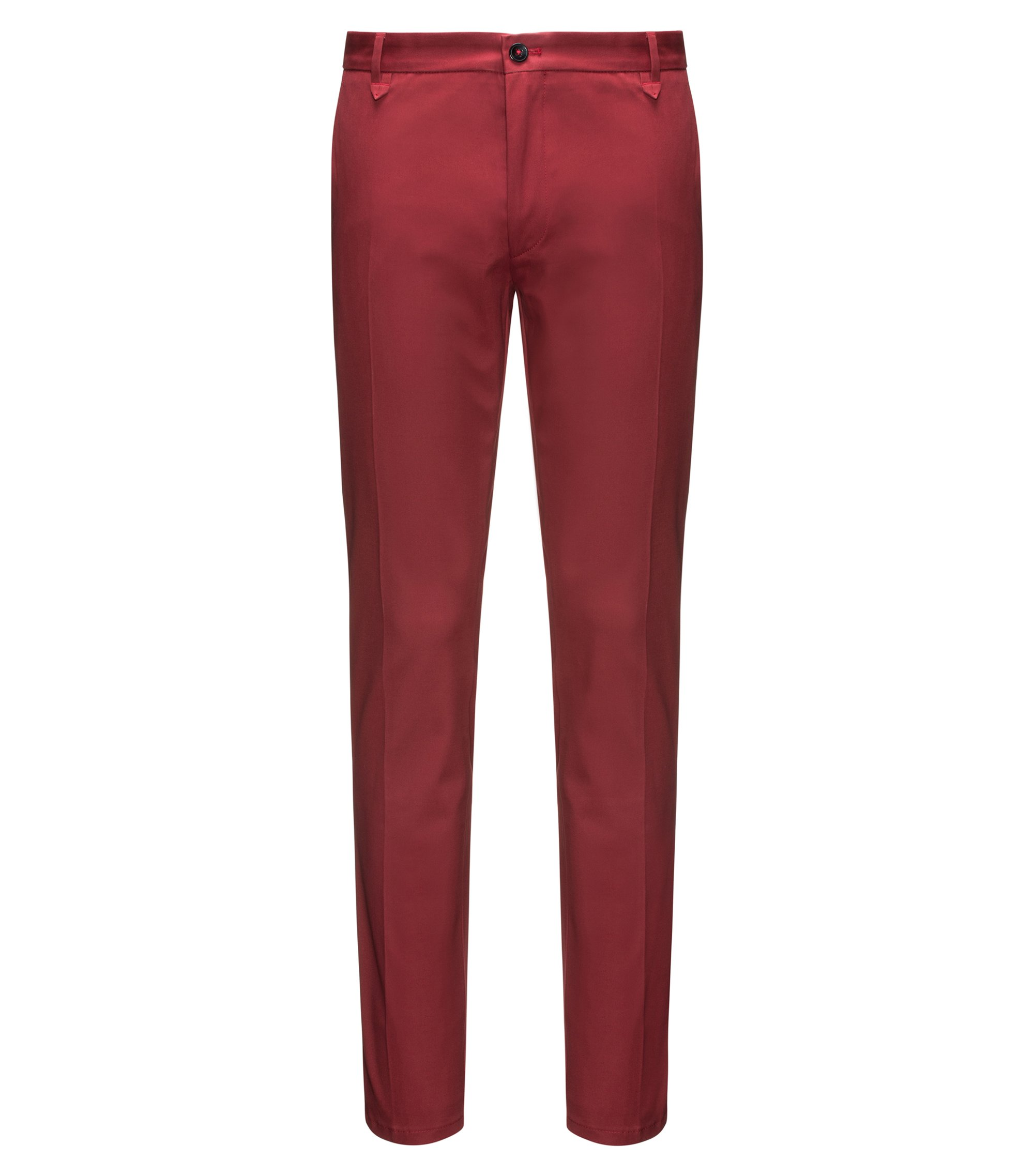 Extra-slim-fit trousers in stretch gabardine, Dark Red