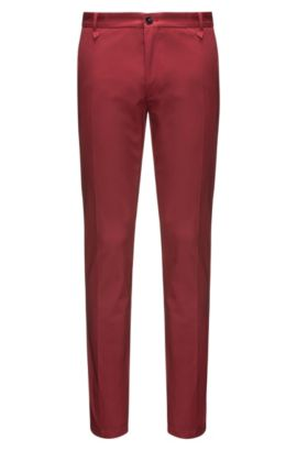 Pantalon Extra Slim Fit en gabardine stretch, Rouge sombre