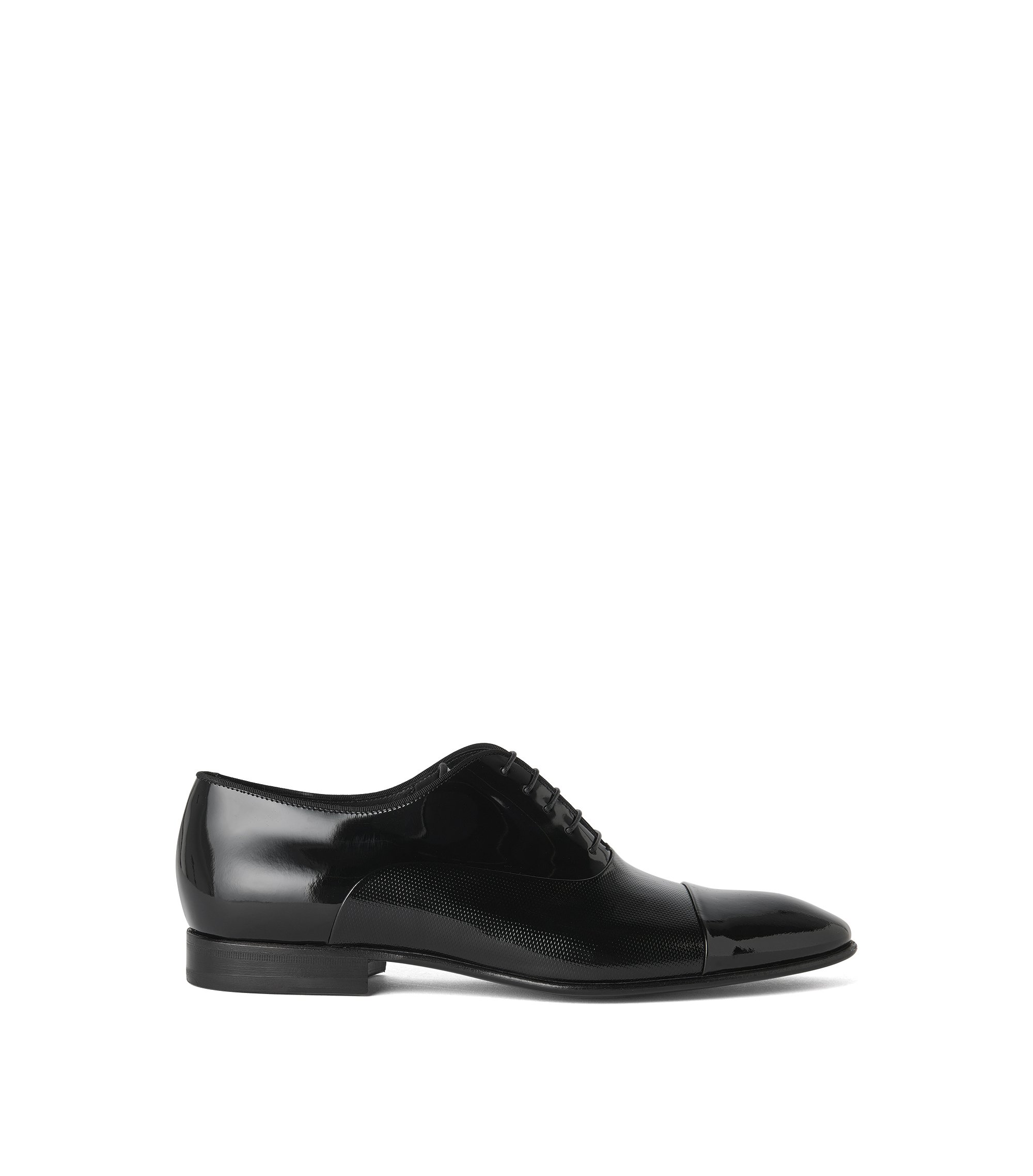 Oxford shoes in mixed leathers, Black