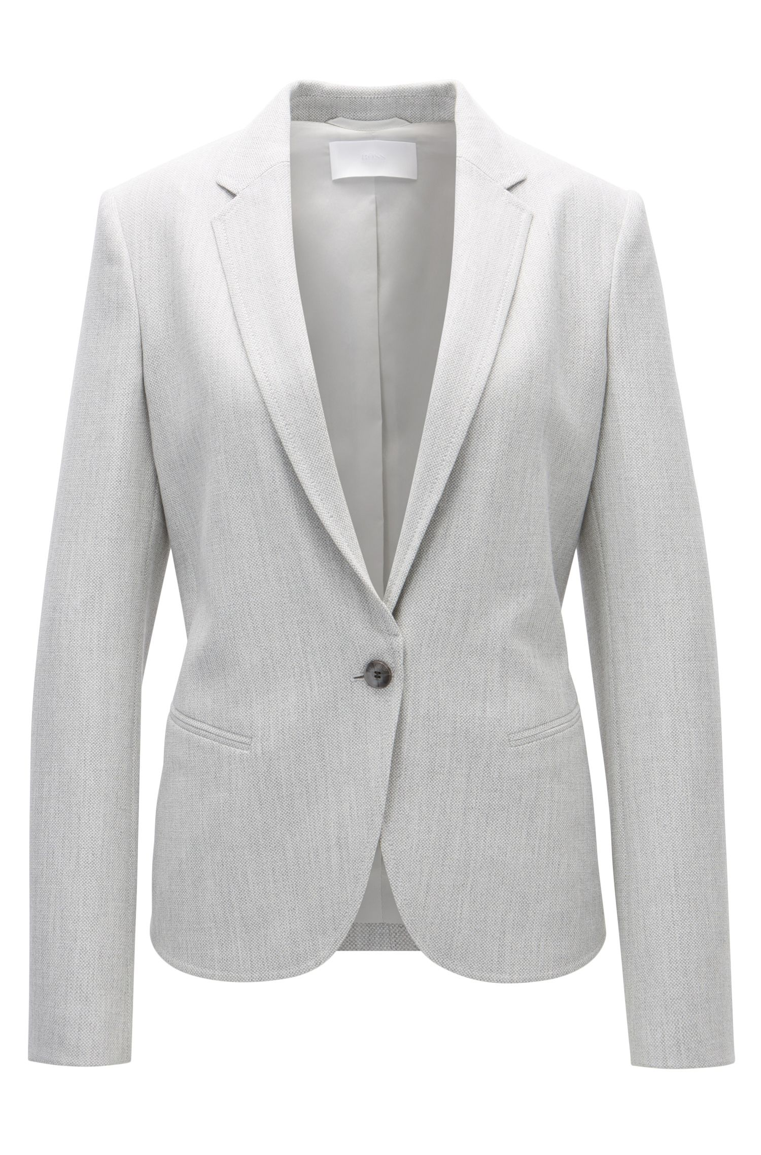 Regular-fit blazer van gestructureerd stretchmateriaal