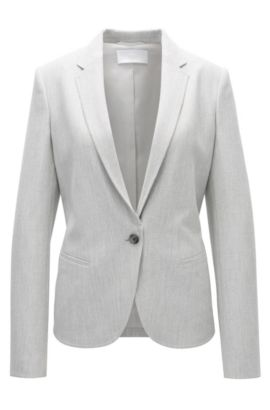 Regular-fit jacket in structured stretch fabric, Patterned