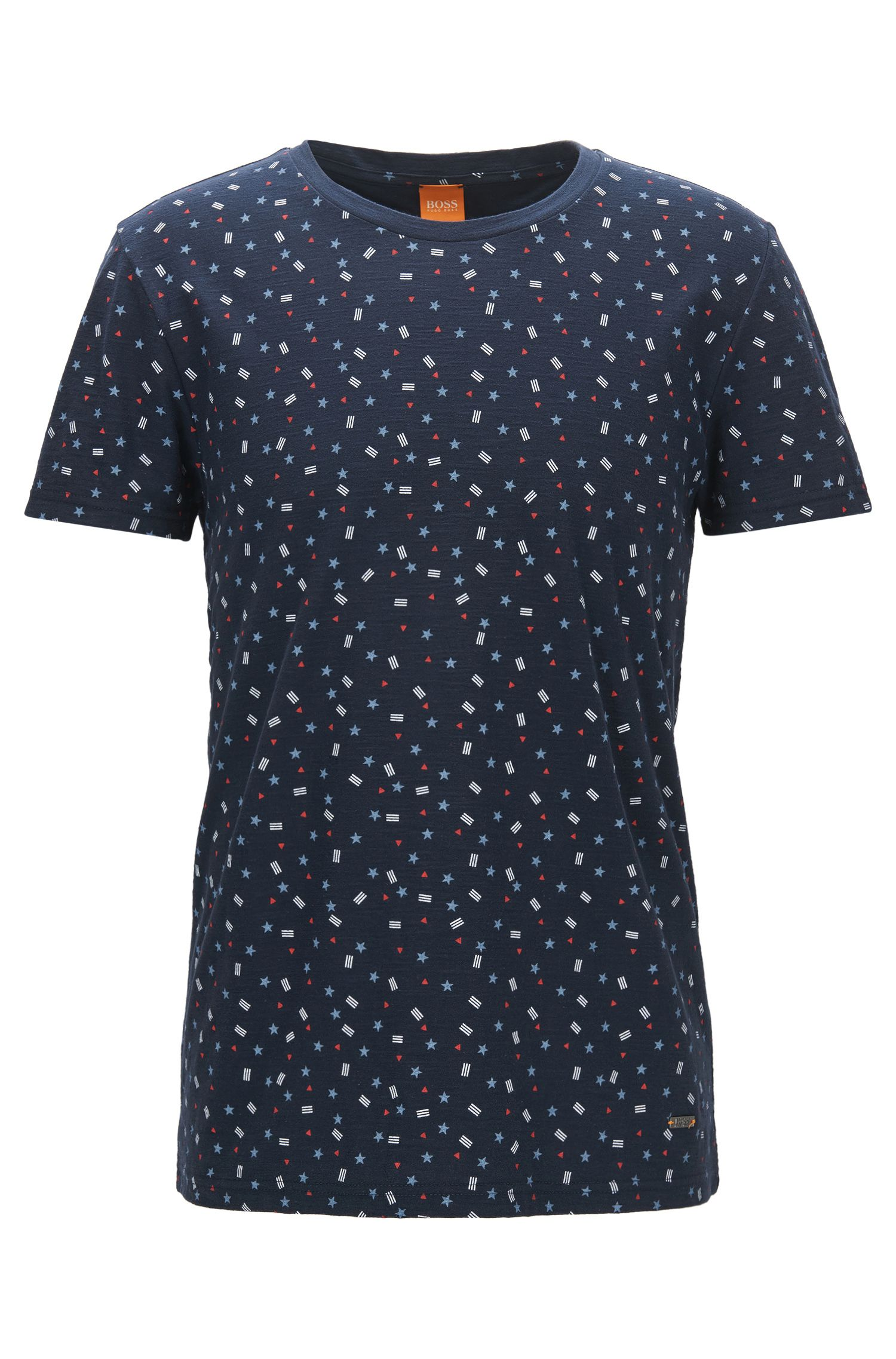 T-shirt regular fit in cotone con stampa a bandiera