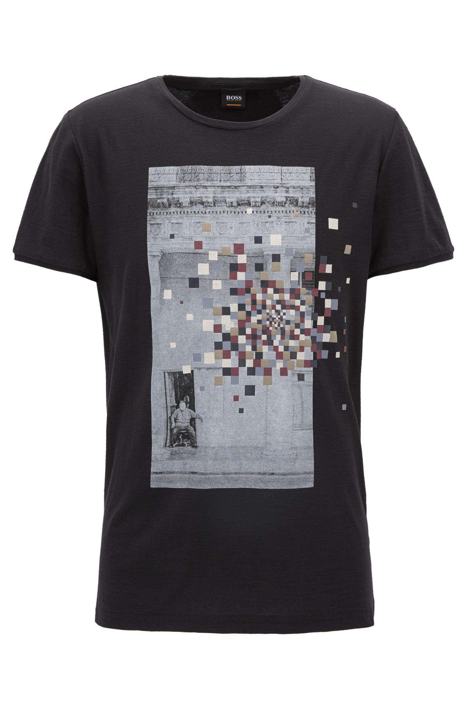 T-shirt Regular Fit en jersey de coton flammé à imprimé mixte graphique