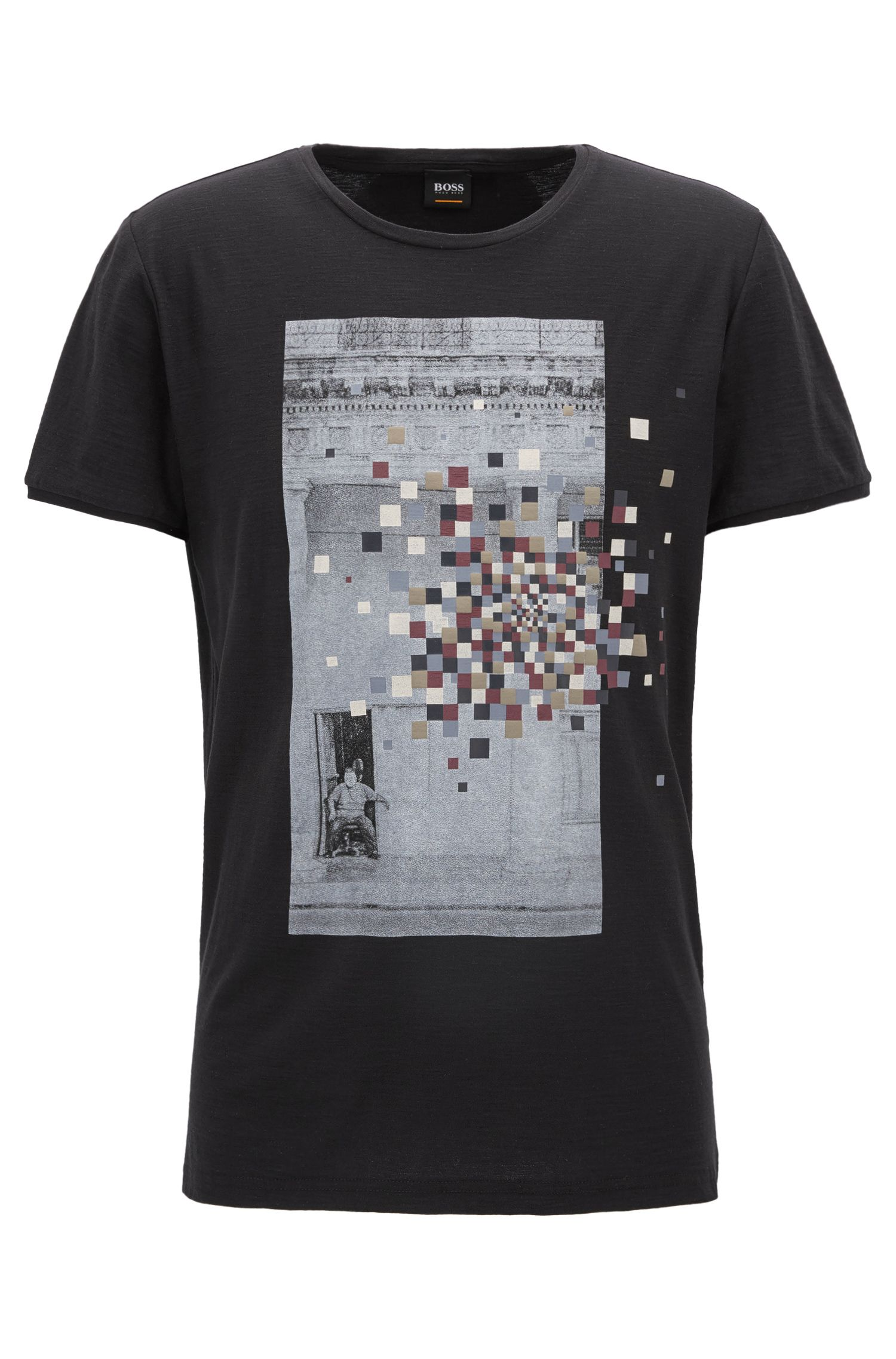 Regular-fit slub-yarn cotton jersey T-shirt with mixed graphic print