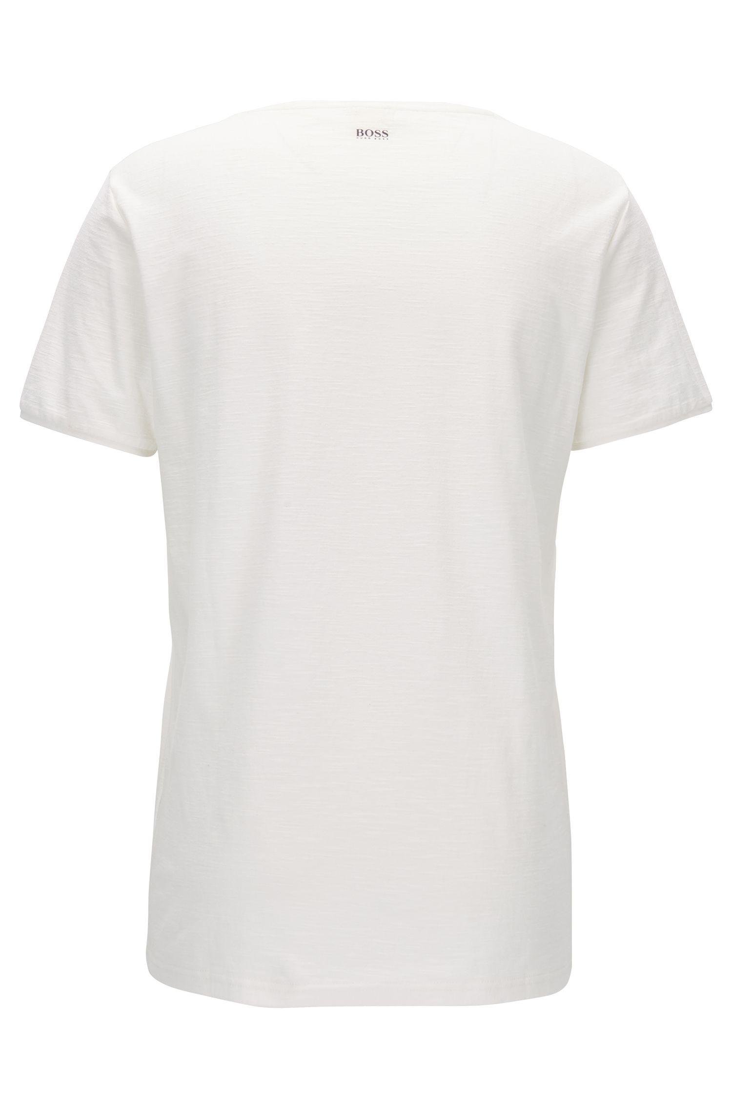 Regular-fit slub-yarn cotton jersey T-shirt with mixed graphic print