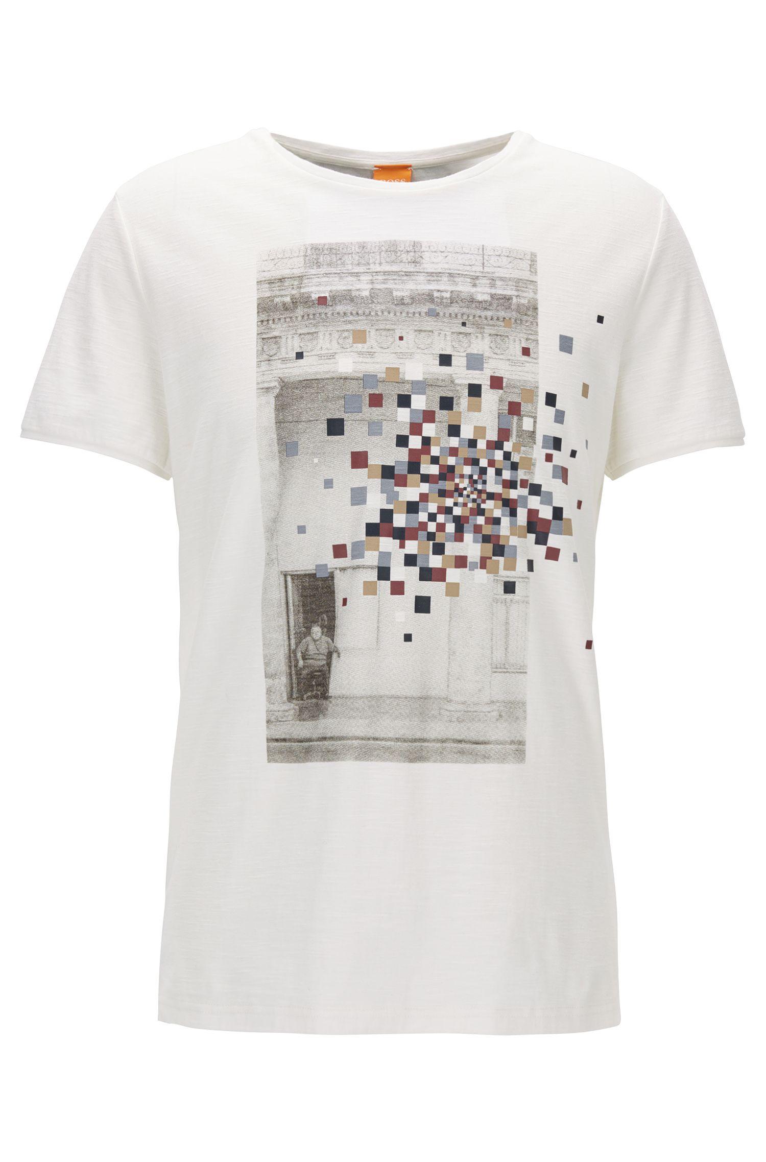 T-shirt regular fit in jersey di cotone slub yarn con stampa grafica mista