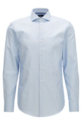 Camicia slim fit in cotone con finitura Fresh Active, Blu