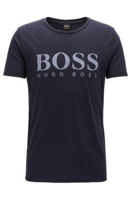 T-shirt slim fit in cotone con logo, Blu scuro